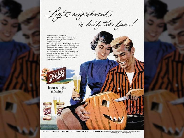 A vintage Halloween-themed Schlitz ad presages light beer