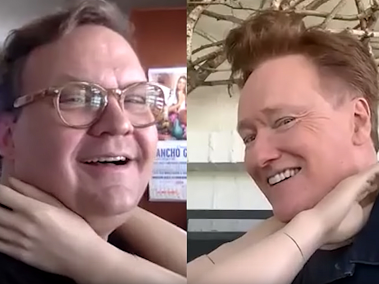 Watch Conan O'Brien and Andy Richter's virtual hug