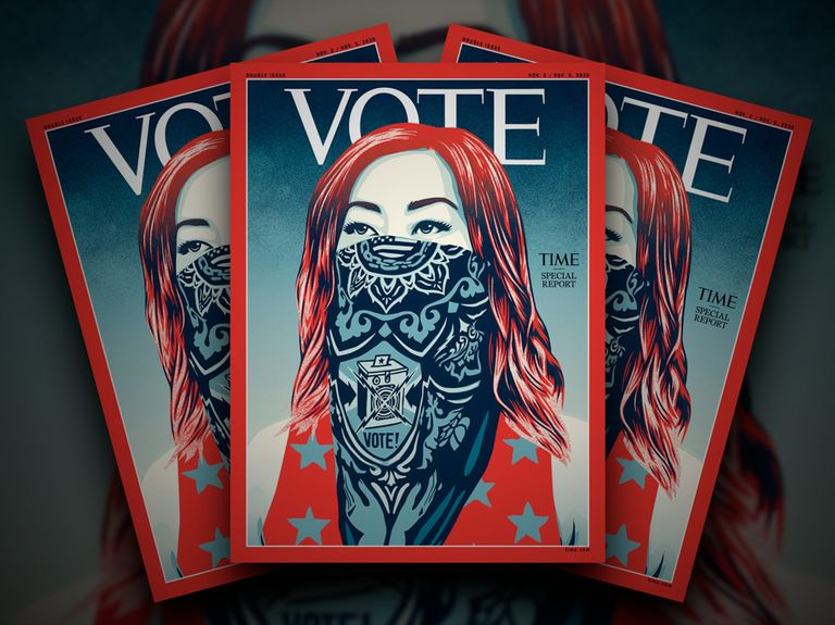 Time replaces its logo with 'VOTE' on latest cover