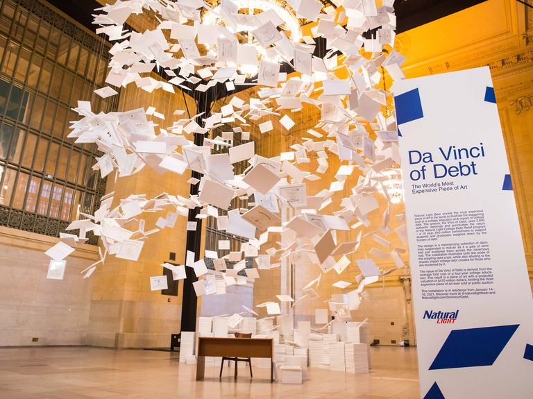 Natural Light creates 'world's most expensive piece of art' to highlight student debt crisis