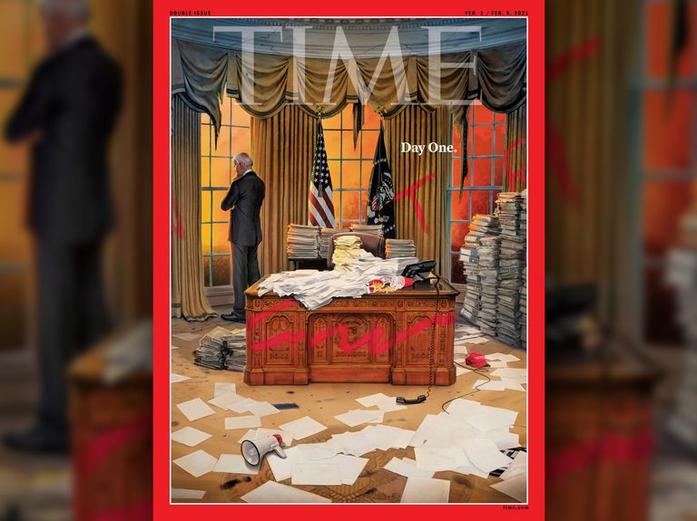 Time's latest cover shows Biden in an Oval Office trashed by his predecessor