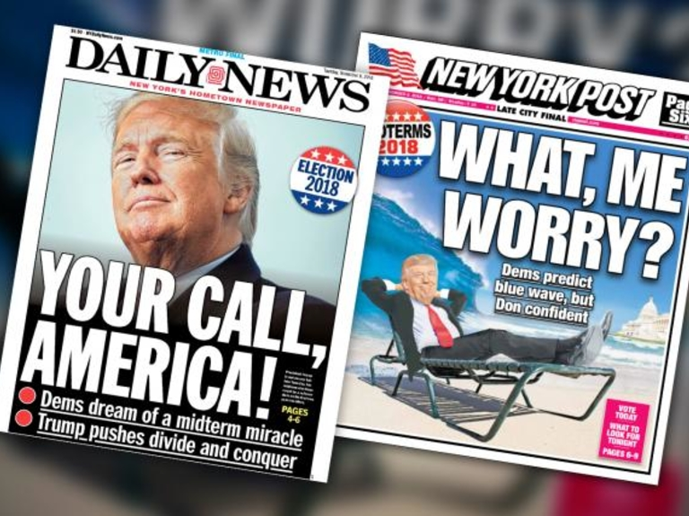 'In a certain way, I am on the ballot,' says Trump. The New York Post and Daily News agree