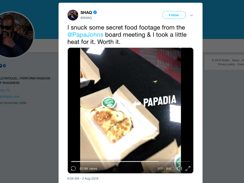 Papa John's is a bit more optimistic, thanks in part to Shaq