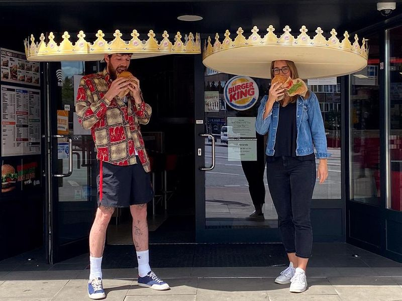 Burger King creates giant crowns to make sure customers stay safely distanced
