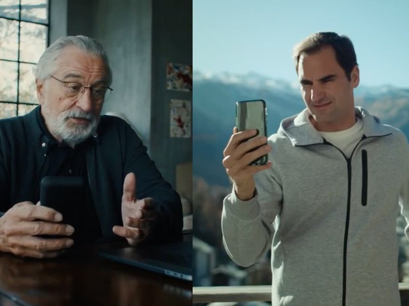 In a new meta ad, tennis pro Roger Federer reaches out to Robert DeNiro, pleadin