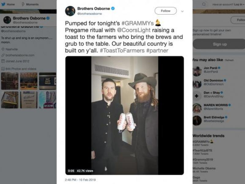 Grammy-nominated Brothers Osborne side with Coors Light in battle with Bud Light