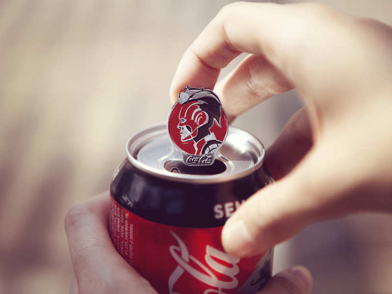 The tabs on these Coke cans are collectible Avengers pins