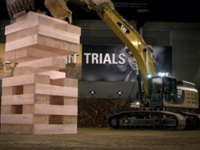Caterpillar Machines Play Jenga With 600-Pound Wooden Blocks