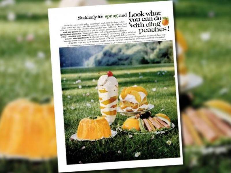 A vintage springtime ad for stone fruit: Do I dare to eat a peach?