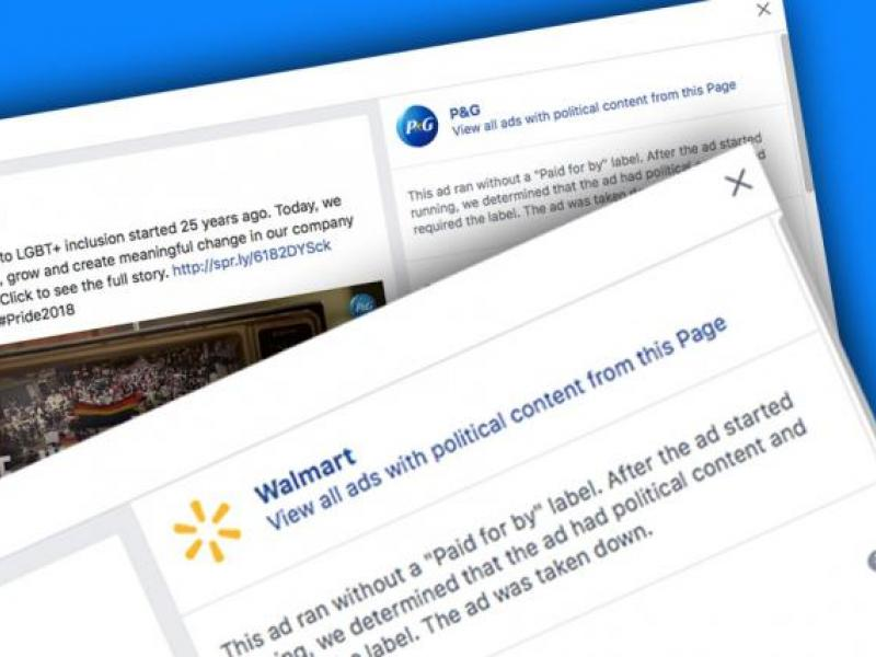 Facebook pulls Walmart and P&G ads for lacking 'political