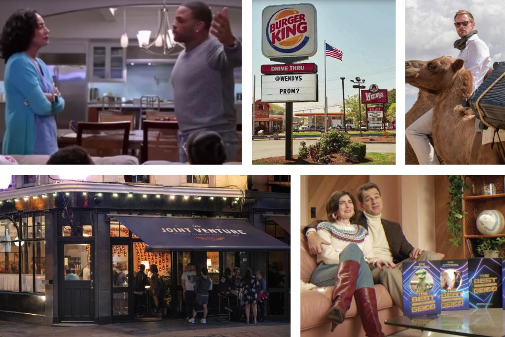 "Image collage: (clockwise from top left)""The Talk"" episode of ""Black-ish"";  MullenLowe's ""promposal"" for Burger King; EP for Tumi's Latitude luggage; The Martin Agency's ""Best of Geico""; Fig for Virgin Atlantic/Delta"