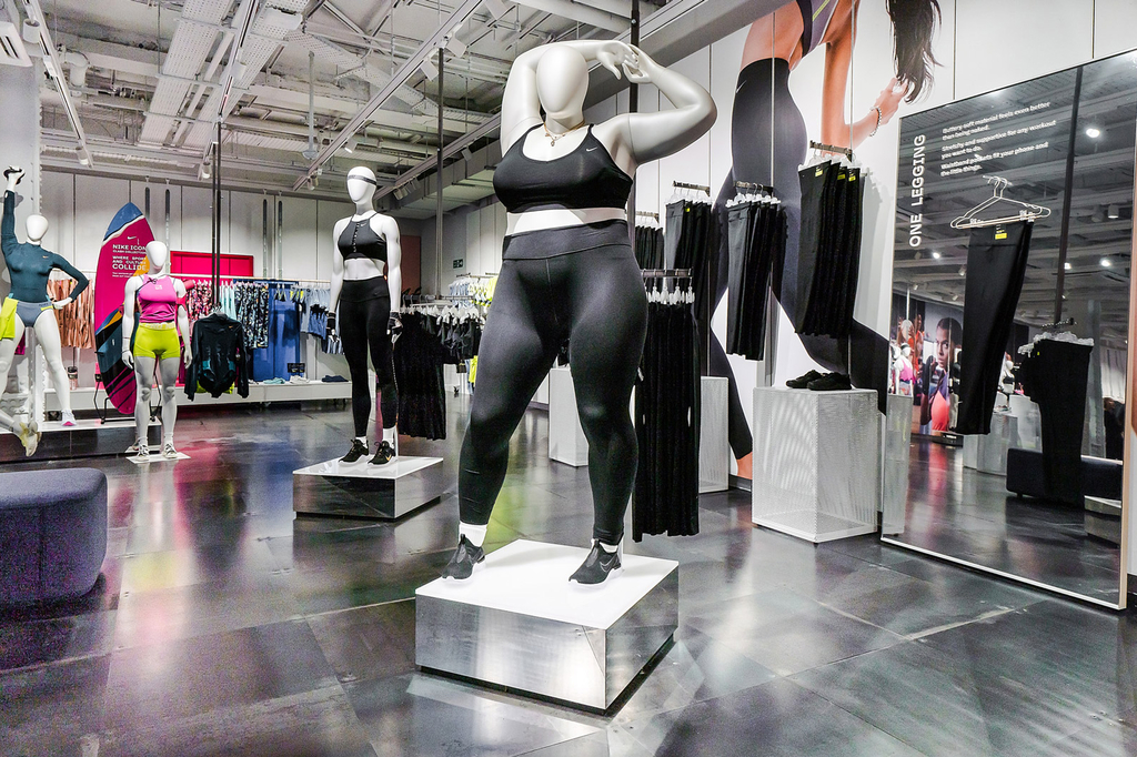 Plus-size mannequin in Nike store