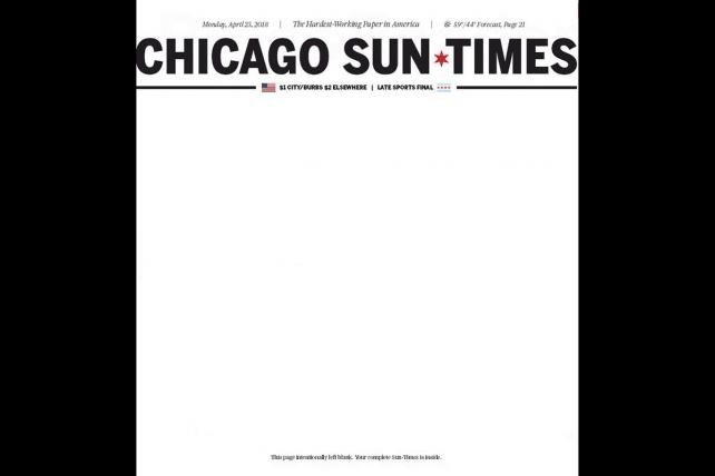 Pop quiz: Why is the front page of today's Chicago Sun-Times blank?