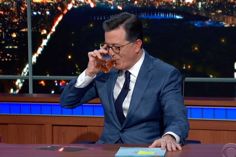 Watch Colbert's surreal, nearly audience-free 'Late Show' monologue