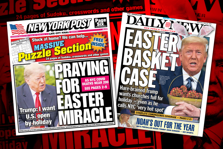 The New York Post and Daily News react to Trump's coronavirus Easter wish