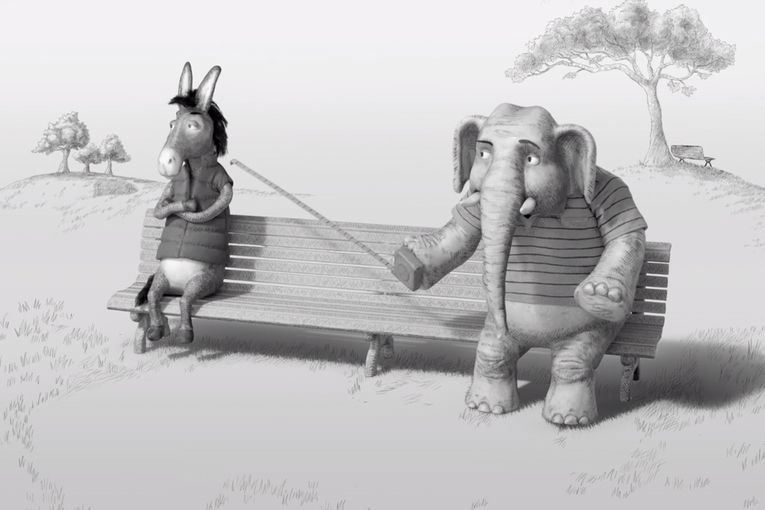 The Donkey and the Elephant enjoy a friendly rivalry in CNN's election coverage ads