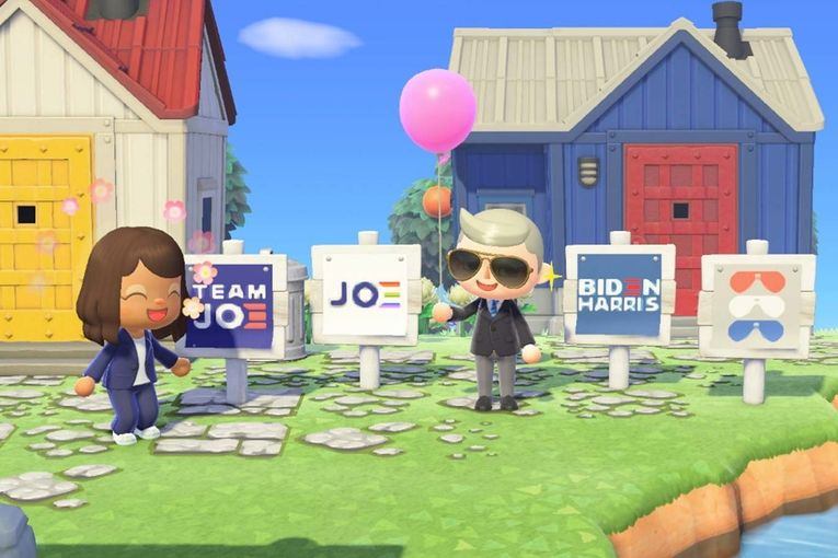 Joe Biden's official presidential campaign signs have landed in Animal Crossing
