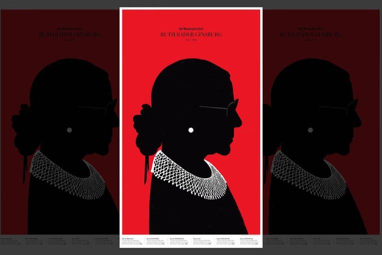 The Washington Post: Edel Rodriguez RBG Cover Section Art