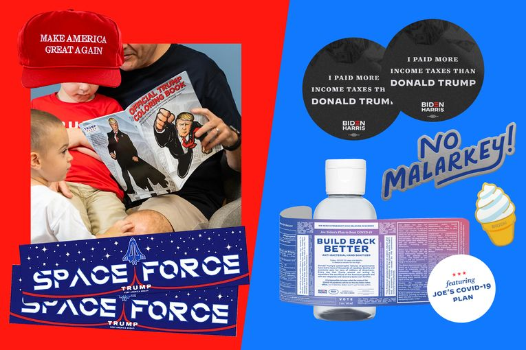 Trump coloring books and Biden hand sanitizer: Comparing presidential campaign merchandise