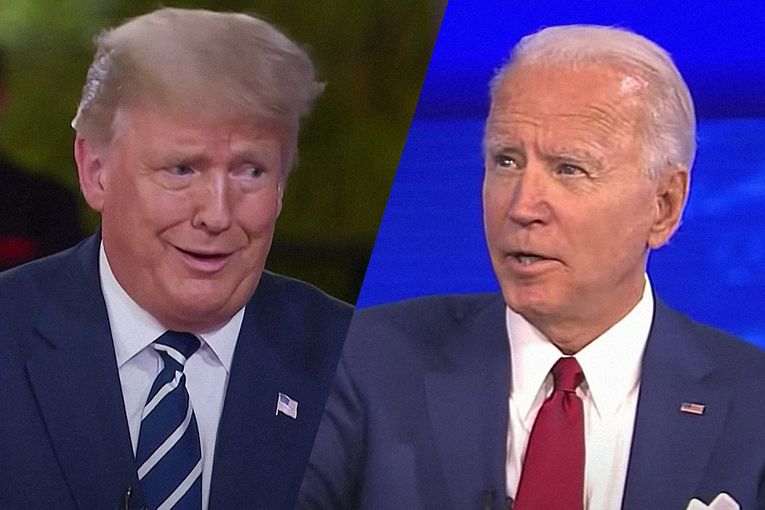 Biden wins ratings race in dueling town halls