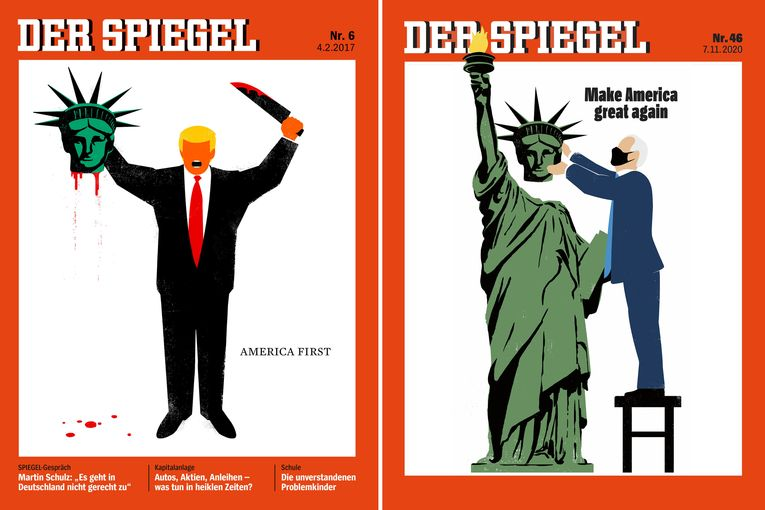 German newsweekly Der Spiegel reworks its 'America First' cover for the Biden era