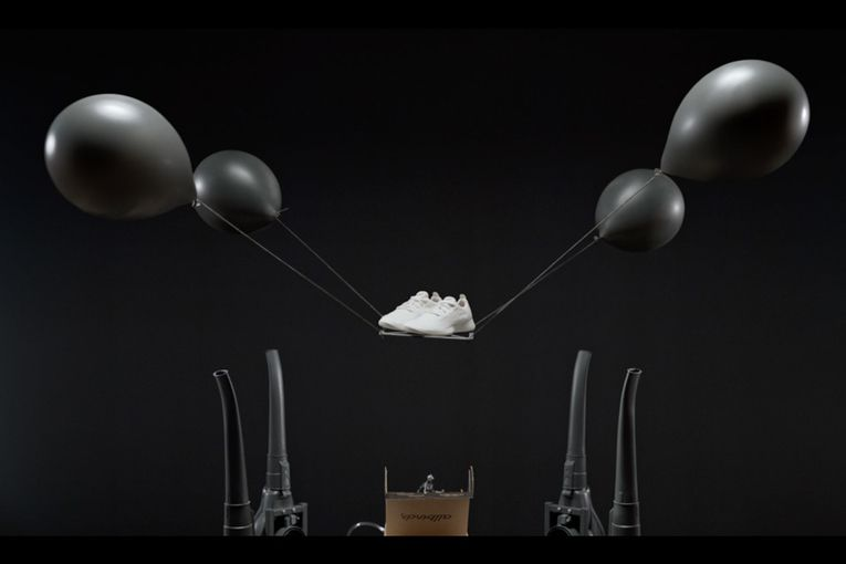 Floating balloons show just how light Allbirds sneakers are