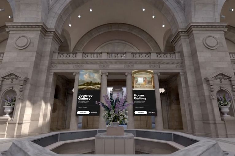 An interactive Met museum demonstrates 5G technology at Verizon's CES event