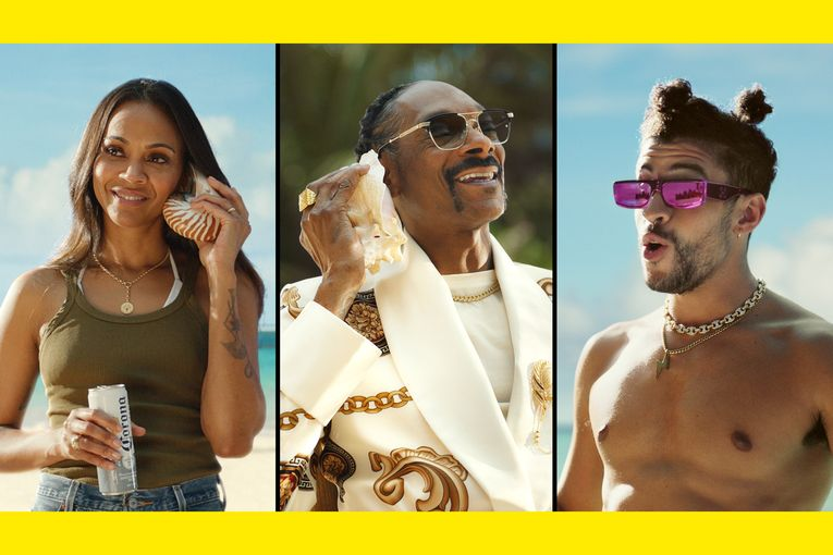 Corona's Golden Globes ad starring Snoop Dogg, Bad Bunny and Zoe Saldana is like a beachy take on 'Whassup!'