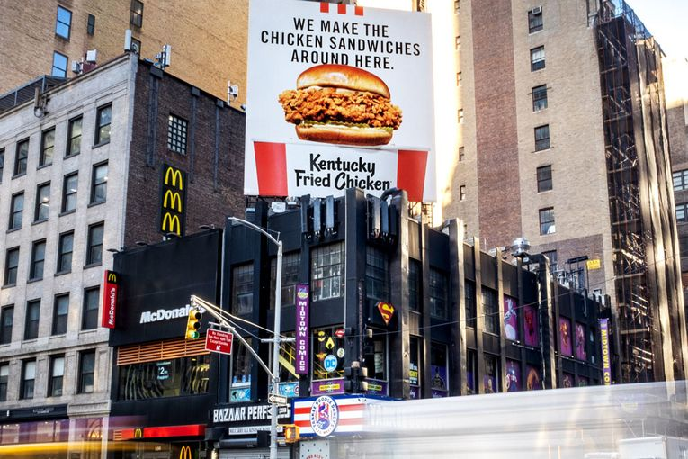 KFC bombs burger rivals with billboards hyping its new crispy chicken sandwich