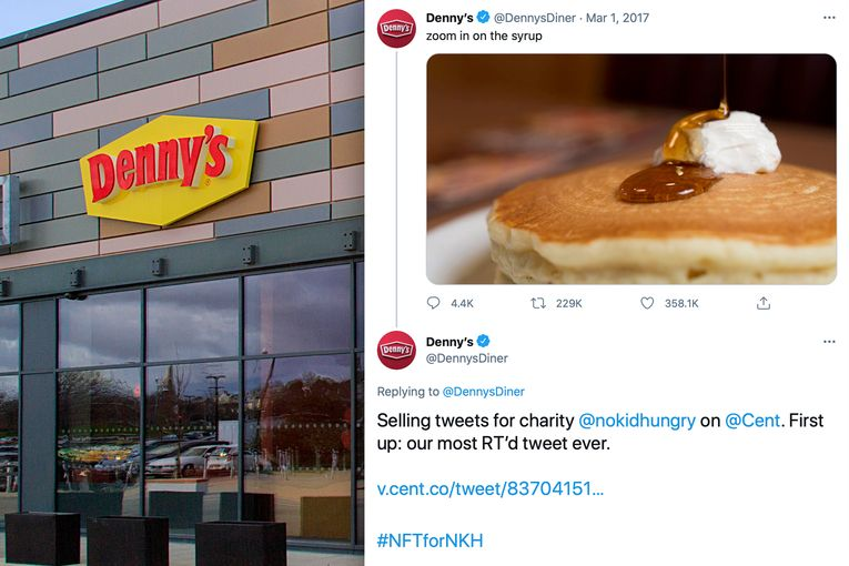 Denny's turns its most-prized tweets into NFTs for charity