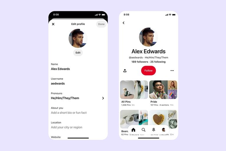 Pinterest lets users add gender pronouns to profiles as part of creator-driven Pride campaign