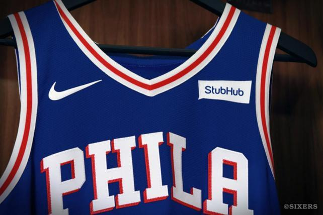 76ers Unveil New Nike Uniforms, Complete With Stubhub Ad