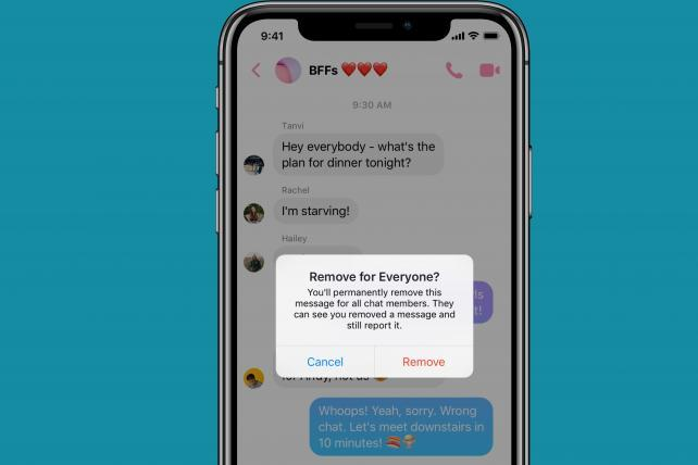Facebook lets people slide out of DMs with new delete option
