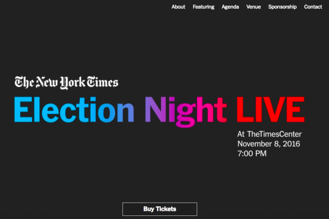 New York Times and Other Media Companies Sell Tickets to Election Night Events