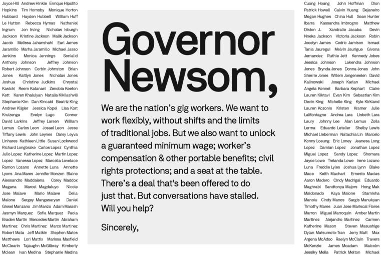 Postmates: Governor Newsom please