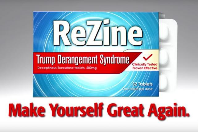 Watch Kimmel's spoof ad for ReZine, a prescription drug for Trump's 'serious medical condition'