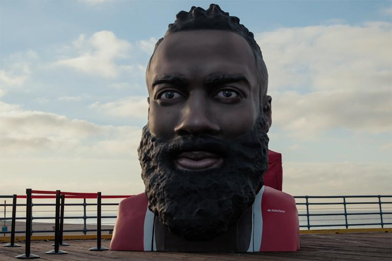 59ea575241bc State Farm  State Farm Made a Giant Version of James Harden s Head for NBA  Fans