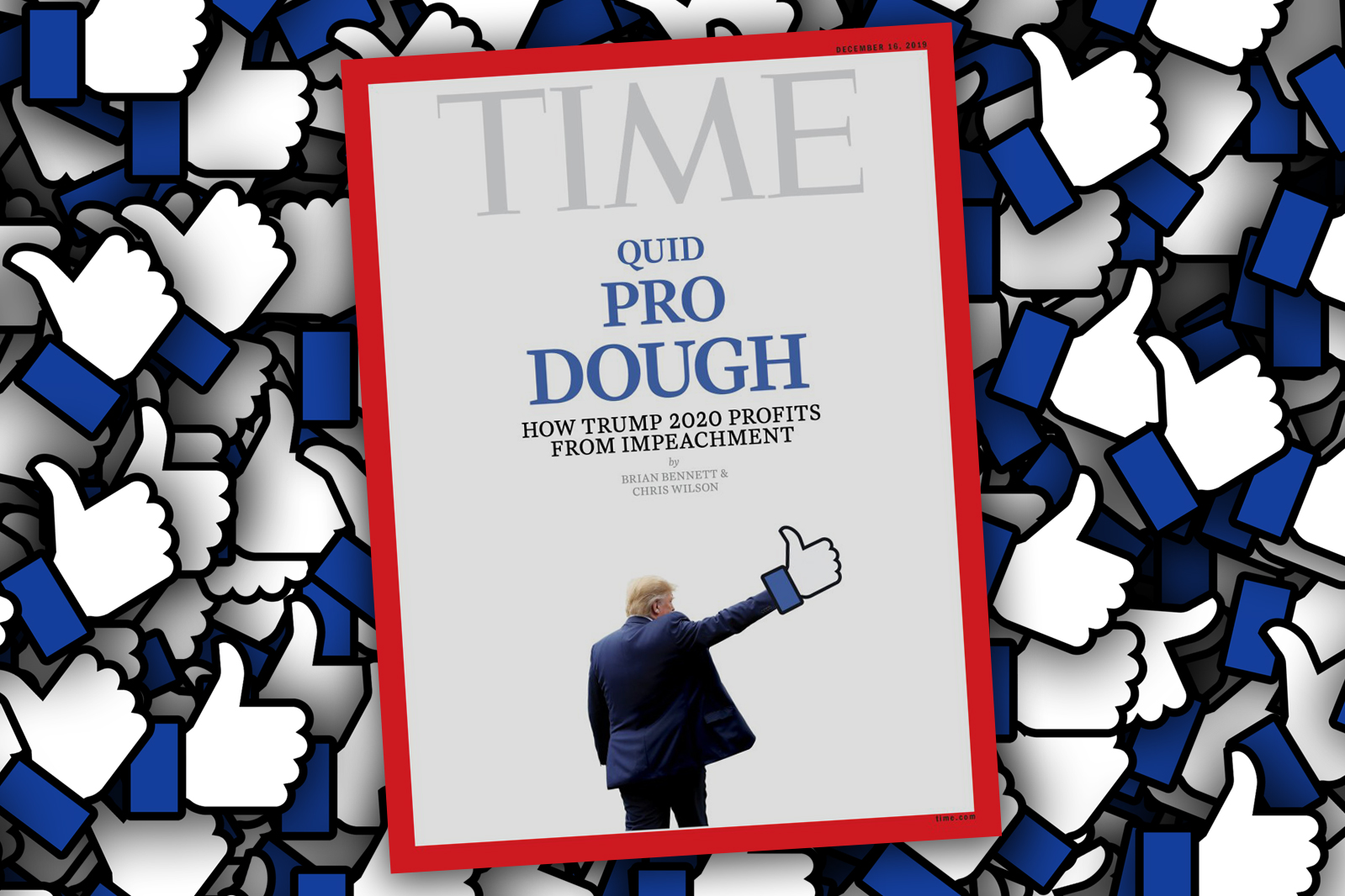 Trump gets a Facebook thumbs-up hand graft on Time's latest cover