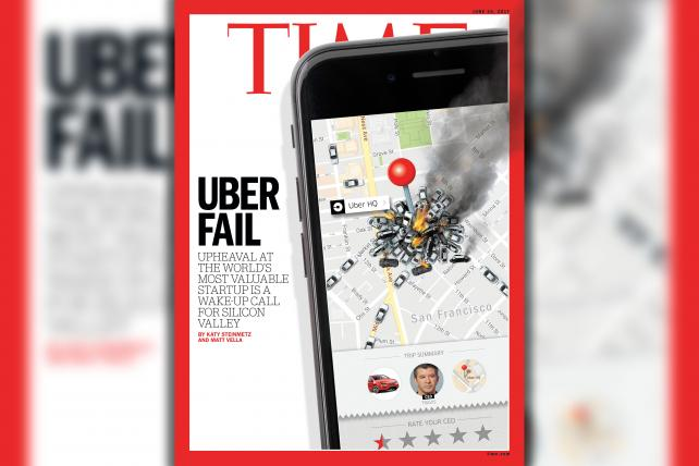 See the Animated Cover: Time Shows Uber as a Flaming Pile-Up